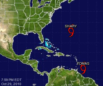 Tormentas Tropicales Tomas y Shary en el Atlántico