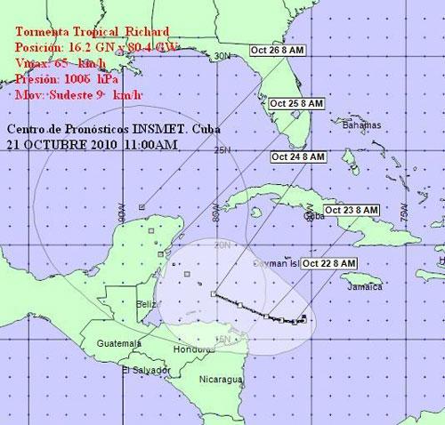 Tormenta tropical Richard, aviso No.3