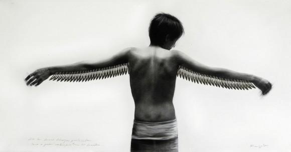 """Como a quien no le importan los heridos, de la serie """"Abrazos prohibidos"""". Técnica mixta sobre tela, 65 x 124 cm"""
