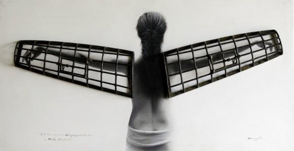 "Mala Memoria, de la serie ""Abrazos prohibidos"". Técnica mixta sobre tela, 70  x 124, 2009 cm"