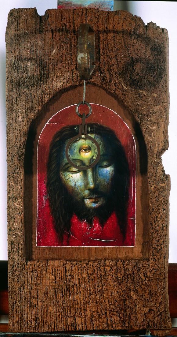 Índigo, acrílico sobre madera, metal y cristal. 2001