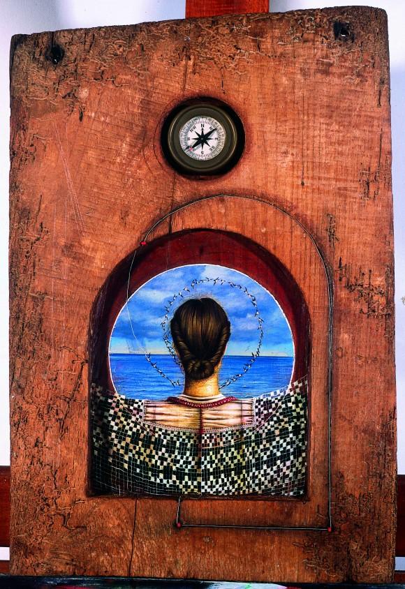 Mi nombre se escribe con agua. Acrílico sobre madera y brújula, 2001