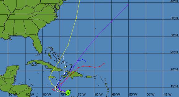 Proyección de trayectoria de la Tormenta Tropical Tomás