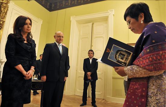 Cristina Fernández hoy en la Casa Rosada.