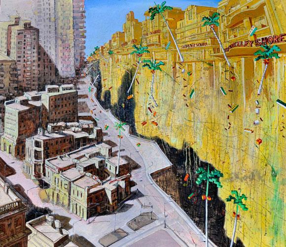 Douglas Pérez. De la serie Pictopía Pangea, Óleo sobre tela 130 X 150 cm, 2010