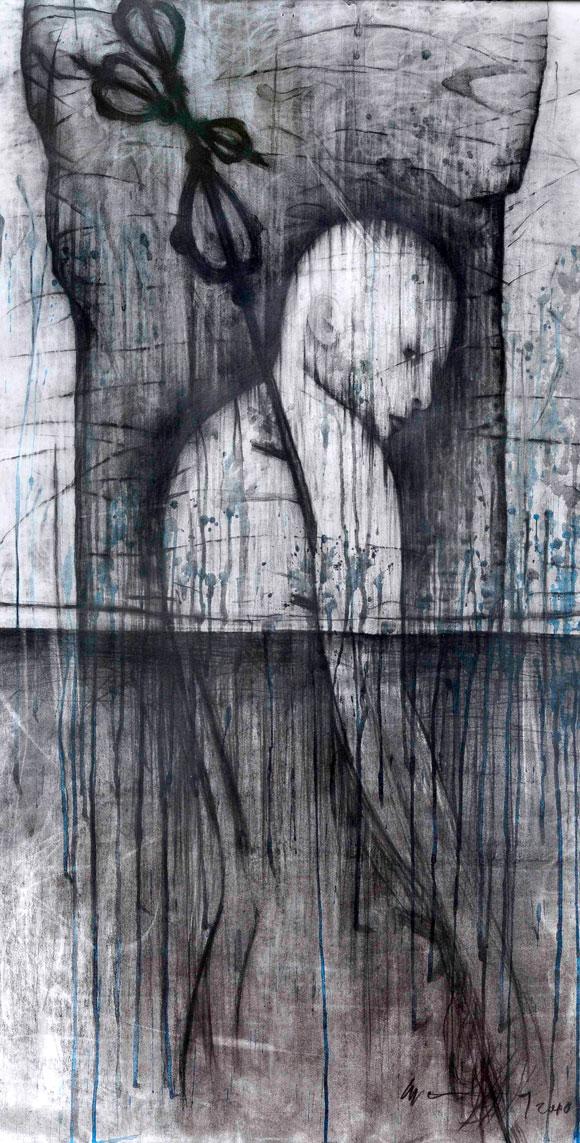 Enrique Wong. Te cuido, una manera de decir te quiero, Técnica mixta sobre cartulina 115 X 60 cm, 2010