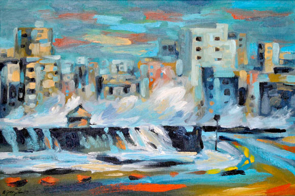 Kamyl Bullaudy. Habanazul, Óleo sobre canvas 55 X 86 cm, 2010