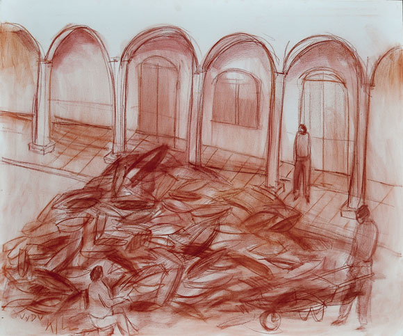 Alexis Leyva (Kcho). Vive y Deja Vivir, Sanguina sobre tela 100 X 120 cm, 2010