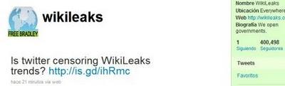 """Las quejas, y las acusaciones, que los medios en español reflejan como dudas por la censura hasta la media tarde del lunes, surgieron porque los hastags #wikileaks, #cablegate, #cables, #Assange no han sido en la última semana """"Trending Topic""""(tópicos que marcan la tendencia de lo que se discute en esa red social)."""