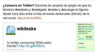 ¿Censura en Twitter? Decenas de usuarios se quejan de que los términos #wikileaks,y #cablegate, #cables y #assange no figuran desde hace días entre la lista de temas destacados (trends) de la red social.<a rel=