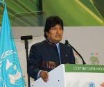 Evo Morales en la cumbre sobre Cambio Climático, en Cancún, México
