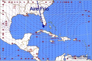 Aire frío llega a Cuba desde la Florida con el flujo de aire del norte.