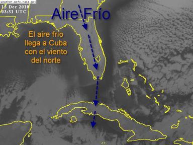 El aire frío se observa bien en esta imagen de satélite GOES en el espectro infrarrojo de las 0331 UTC (10:30 PM, dia 14 en Cuba)