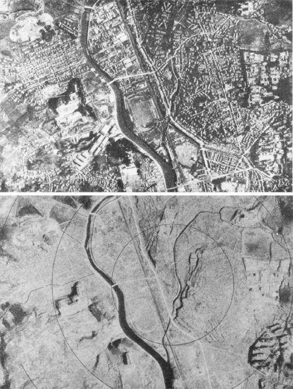 Nagasaki antes (arriba) y después (abajo) del ataque atómico. Foto: United States Strategic Bombing Survey. (Clic para ampliar)