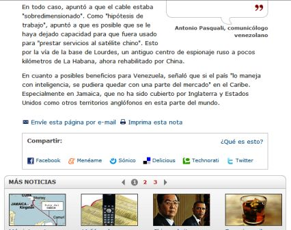 Nota de la BBC con información sobre base soviética cubana