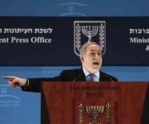Benjamín Netanyahu en la conferencia de prensa hoy. Foto: Reuters