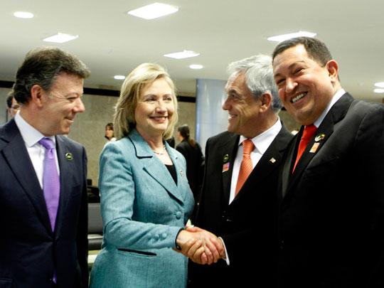 José Manuel Santos, Clinton, Sebastián Piñera y Hugo Chávez. (Foto: Prensa Presidencial Venezuela)
