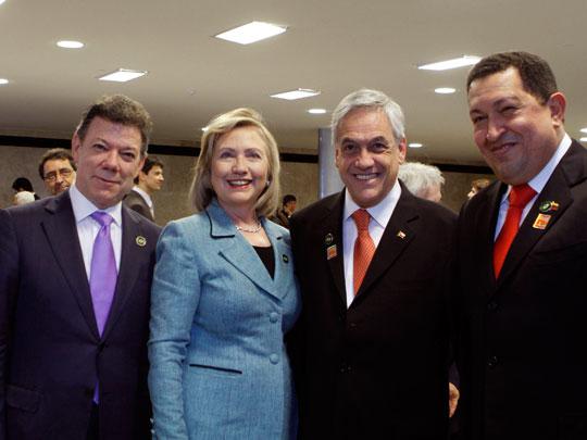 Santos, Clinton, Piñera y Chávez. (Foto: Prensa Presidencial Venezuela)