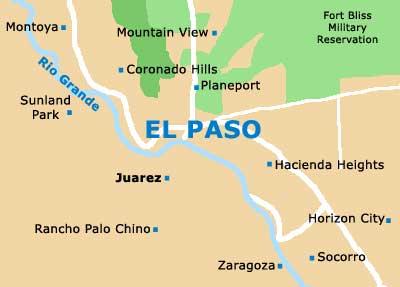Mapa de El Paso, Texas. El Río Grande divide la frontera entre México y Estados Unidos. En la parte mexicana, la ciudad más próxima este lugar es Juarez.