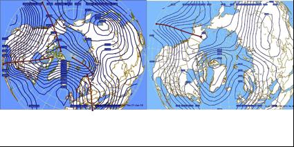 """Figura 3. Mapa del Hemisferio Norte que muestra la distribución y profundidad de las Ondas polares o de Rossby el 13 de diciembre de 2010 (izquierda) y las del 6 de enero de 2011 (derecha). Explica la variabilidad en el estado del tiempo que puede existir con sólo 15 días de diferencia, a pesar de que el evento de """"La Niña"""" persiste. Más explicación en el texto."""