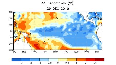 Figura 1. Anomalías de la temperatura superficial del mar (en °C)  en el océano Pacífico en la semana del 29 de diciembre referido al período 1971-2000.  La zona en azul representa enfriamiento del agua, o sea, anomalías negativas sobre el promedio de los años 1971 - 2000.  Fuente: www.cpc.noaa.gov)
