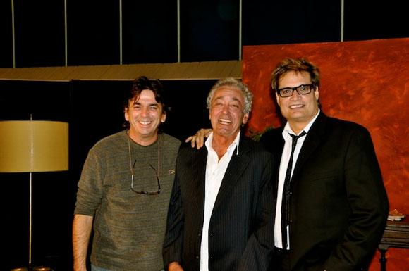 """Sergio Vitier, Amaury Pérez y Rafael Solís en el programa """"Con 2 que se quieran"""". Foto: Petí"""