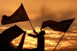 Banderas egipcias ondeando. Foto: Boston Globe