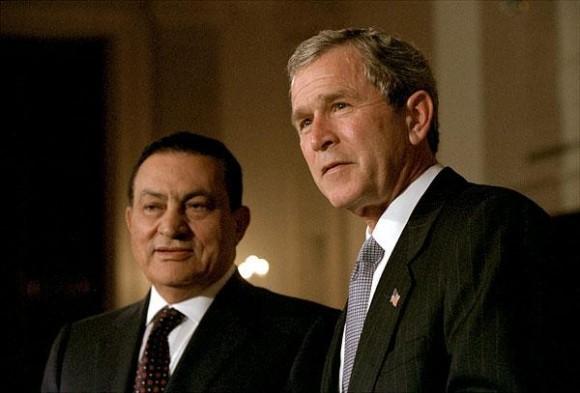 Mubarak y Bush en la Casa Blanca