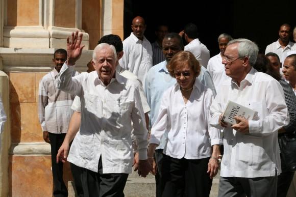 James Carter con Eusebio Leal en La Habana Vieja.