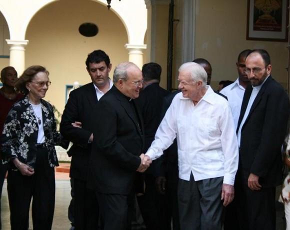 Jaime Ortega y el ex presidente James Carter en La Habana. Foto: Sheyla Valladares