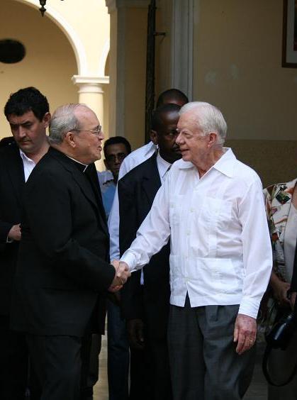 El Cardenal Jaime Ortega despide a Jimmy Carter. (Foto: Sheyla Valladares)