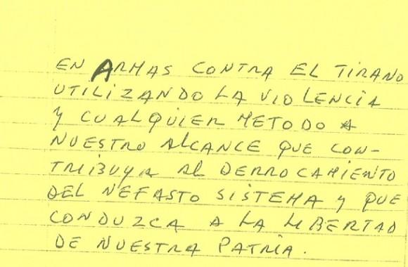 El documento de puño y letra de Luis Posada Carriles entregado a Ann Louise Bardach en Aruba.