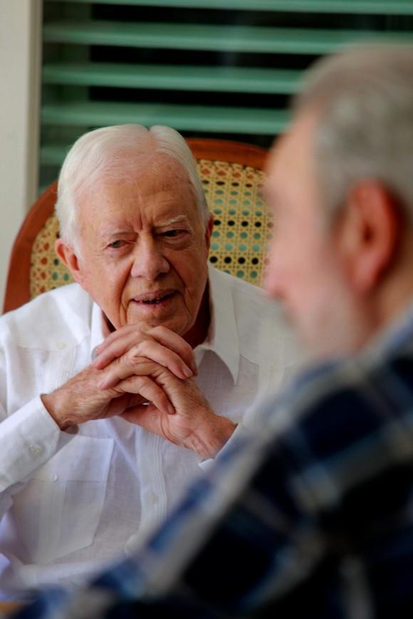 encuentro de Fidel y Carter en La Habana, al término de una visita de tres días que realizara el ex Presidente de Estados Unidos.