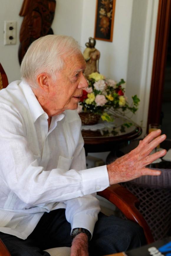 James Carter, durante el encuentro con Fidel en La Habana. Foto: Alex Castro/Cubadebate