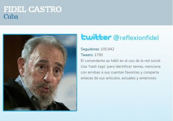 La cuenta @reflexionfidel en Twitter