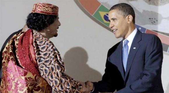 Muamar el Gadafi con Barack Hussein Obama