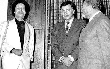 Muammar el Gadhafi con Bruno Kreisky y Felipe González en Santa Ponça (1984)