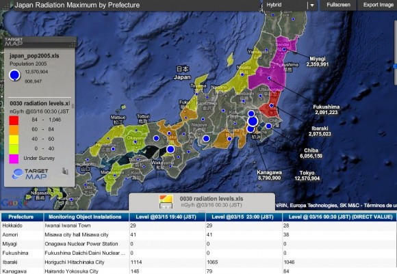 Mapa interactivo que muestra la radiación en Japón de acuerdo con la población.