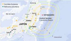 Ubicación de las plantas nucleares japonesas. Infografía de El Mundo