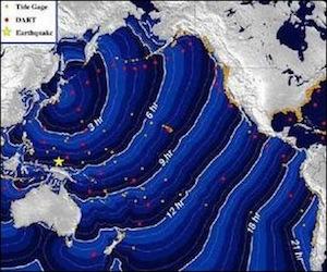 El oleaje que se registró esta mañana en las costas de California como consecuencia del terremoto que se sintió en Japón.