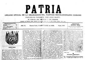 Periódico Patria, fundado por José Martí el 14 de marzo de 1892