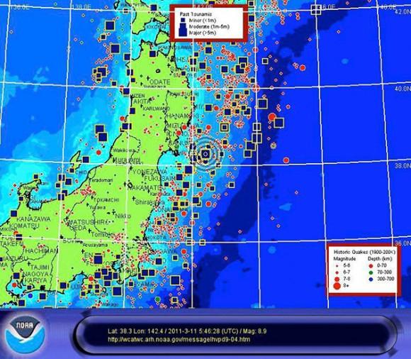 Imagen facilitada por la Administración de Nacional de Océanos y Atmósfera (NOAA) de EE.UU. hoy, viernes, 11 de marzo de 2011, que muestra un mapa de la zona noreste de Japón donde un hoy se ha vivido un terremoto de 8,8 grados Richter, el de mayor intensidad de los registrados en las últimas décadas en este país. EFE/NOAA