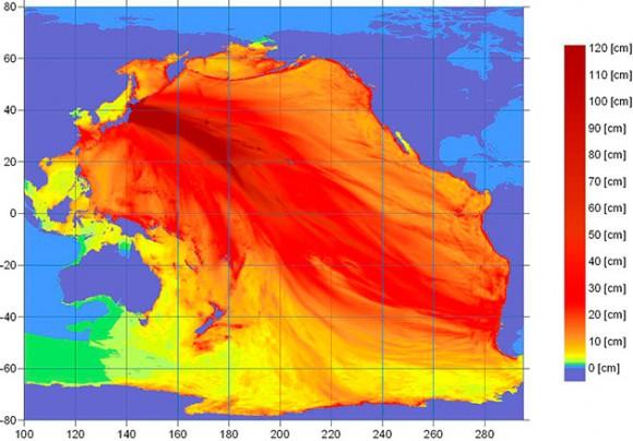 Imagen facilitada por la Administración de Nacional de Océanos y Atmósfera (NOAA) de EE.UU. hoy, viernes, 11 de marzo de 2011, que muestra lo niveles de energía en el océano Pacífico generados por el terremoto de 8,8 grados Richter que hoy ha asolado la zona noreste de Japón. EFE/NOAA