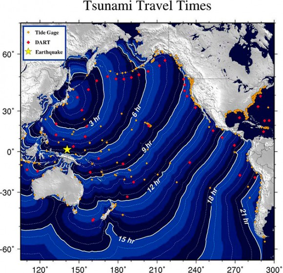 Imagen de la Administración de Nacional de Océanos y Atmósfera (NOAA) de EE.UU. hoy, viernes, 11 de marzo de 2011, que muestra la situación del mar generada por el terremoto de 8,8 grados Richter vivido hoy en la zona noreste de Japón. EFE/NOAA