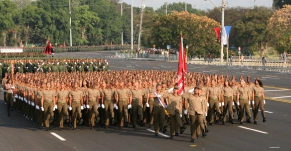 Ensayo de la Revista Militar del 16 de abril en la Plaza de la Revolución, Cuba. Foto: Sheyla Valladares