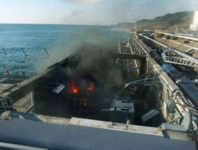 Incendio del día 12/04 en el edificio de evacuación de agua próximo a la unidad 4 de Fukushima I.