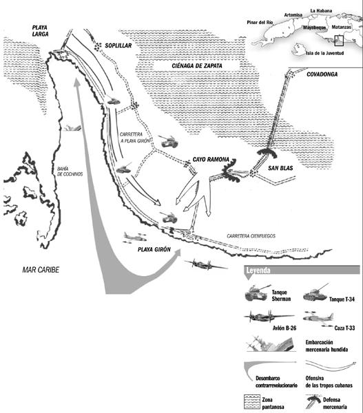 Mapa de las acciones en Playa Girón