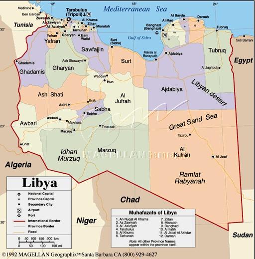 Mapa de Libia.