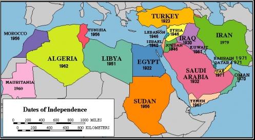 Norte de África, Medio Oriente, fechas de independencia