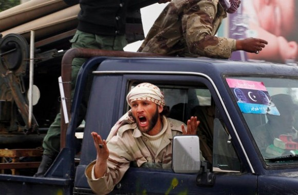 Rebel fighters in Ajdabiya. For the second time in less than a week, the fighters said on Thursday, NATO warplanes mistakenly attacked their troops.